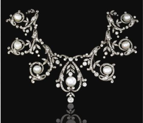 Natural Pearl and Diamond Necklace/ Tiara belonging to an Unidentified European Nobel Family