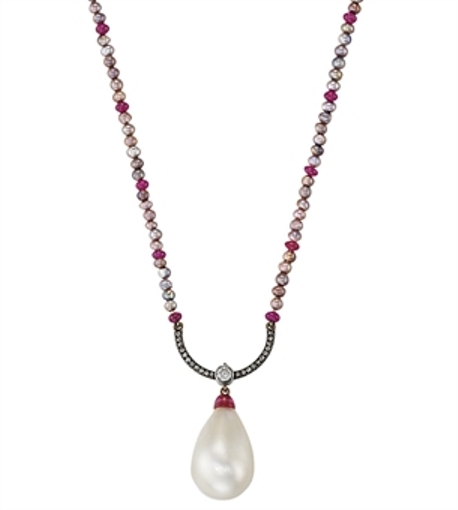 Natural pearl, diamond and ruby pendant necklace