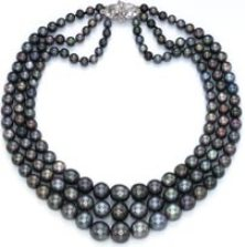 The three strand Nina Dyer natural black pearl necklace