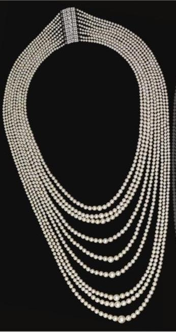 Nine strand natural pearl festoon necklace