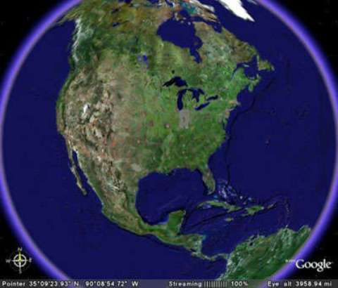 Satellite View of North Atlantic Coastline of North America, natural habitat of the Quahog clam, Mercenaria mercenaria