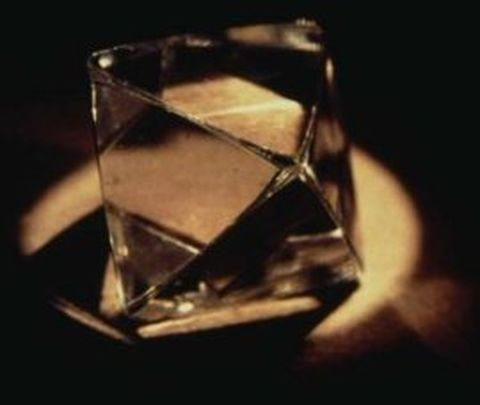 Octahedral diamond crystal - the most common crystal habit in diamonds
