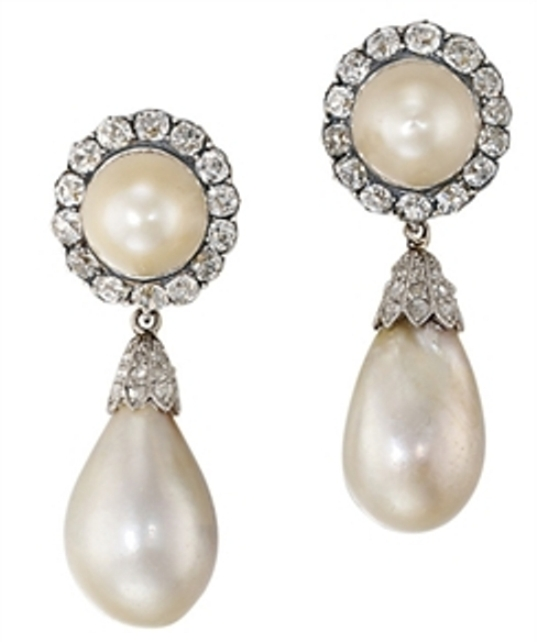 Pair of antique pearl and diamond ear pendants