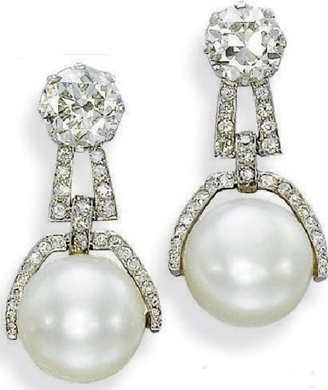 Pair of art deco natural pearl and diamond earrings