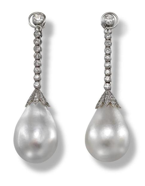 Pair of natural pearl and diamond drop earrings once owned by Elena Lupescu