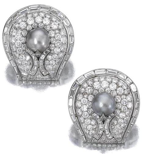 A Pair of Pearl and Diamond Earclips