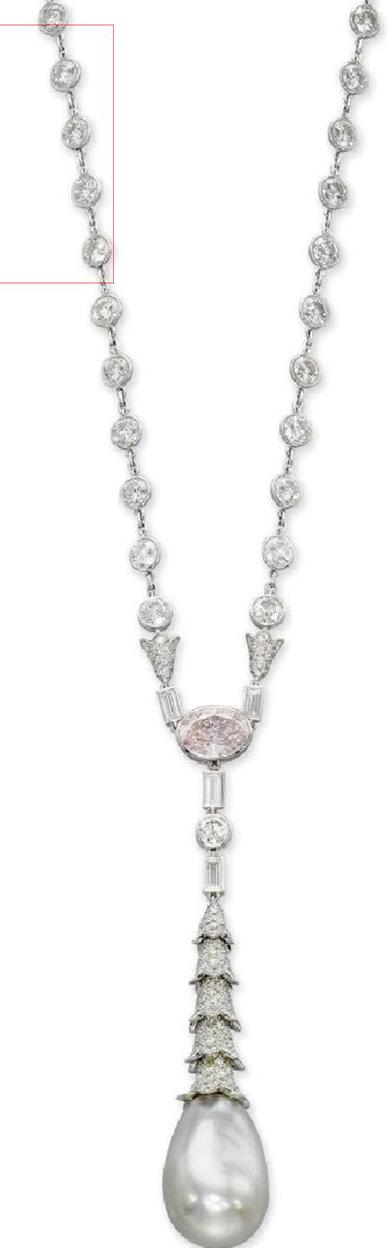 Cartier's Natural Pearl, White and Pink Diamond Necklace