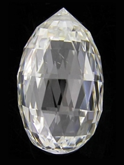 Perfectly cut white briolette-cut diamond