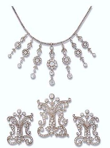 The Poltimore Tiara Dismantled into a Necklace and three Brooches