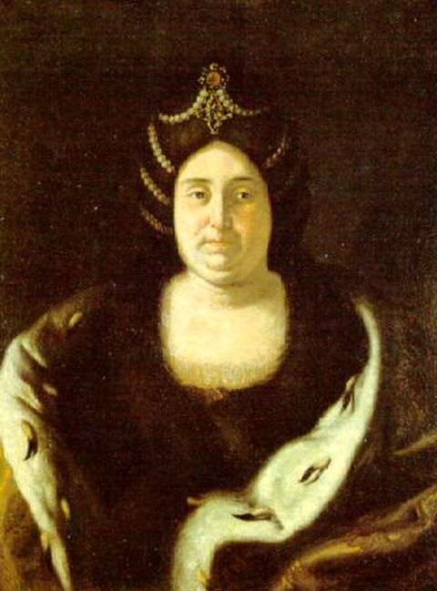 Portrait of Tsaritsa Praskovia Saltykova by artist Ivan Nikitin executed in the early 18th-century