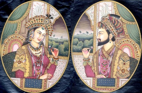 Portraits of Shah Jahan and Mumtaz Mahal