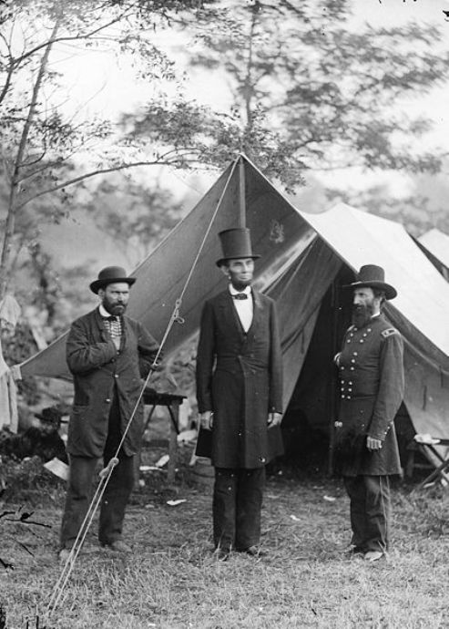 President Abraham Lincoln with Major General John A. McClernand and Allan Pinkerton at Antietam, Maryland on October 3rd 1862