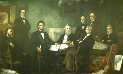 Lincoln with his cabinet in July, 1862 discussing the draft of the Emancipation Proclamation.