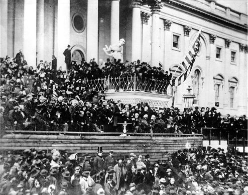 President Abraham Lincoln delivering his second inauguration address.
