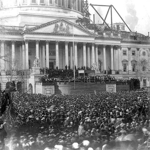 President Abraham Lincoln's first inauguration in front of the U.S. Capitol building.