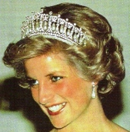 Princess Diana wearing the Cambridge Lovers Knot Tiara, a piece of royal jewelry that came to be associated with the image of the popular princess