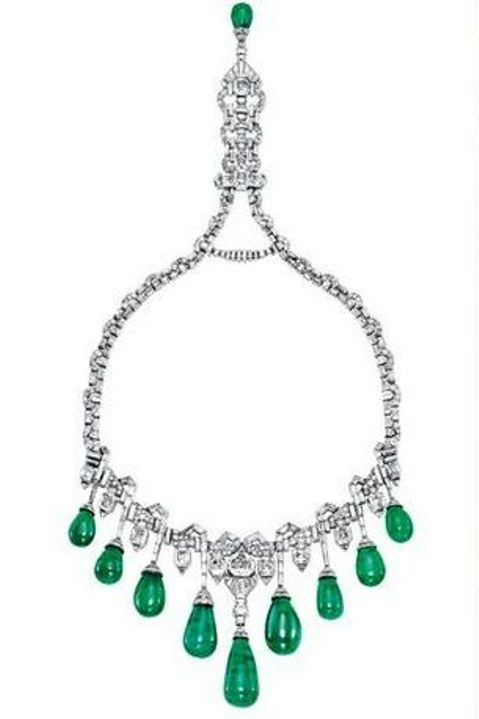 Princess Faiza's Art Deco Emerald and Diamond Necklace