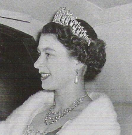 Queen Elizabeth II wearing the 1913 version of the Cambridge Lovers Knot Tiara.