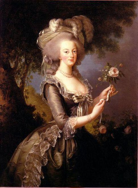 """Queen Marie Antoinette of France- """"Marie Antoinette àla Rose""""portrait by Élisabeth Vigée-Lebrun."""