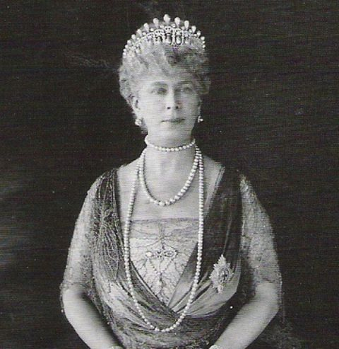 Queen Mary wearing the Cambridge Lover's Knot tiara with the pearl spike intact