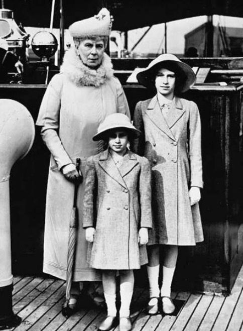 Queen Mary with her grandchildren Princess Elizabeth and Princess Margaret at the London Dockyard in 1939