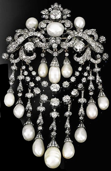 Queen Olga's Pearl and Diamond Devant de Corsage