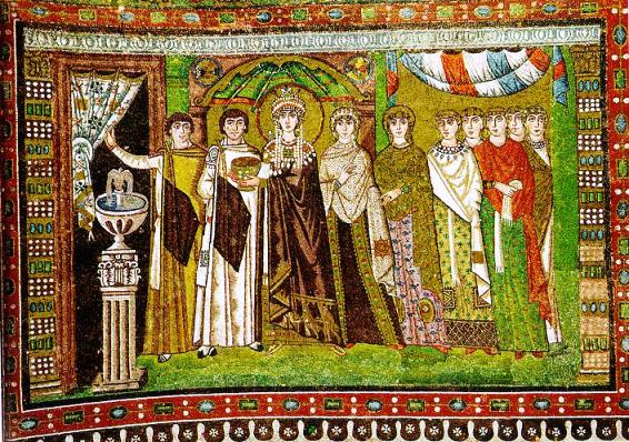 Ravenna mosaic showing Empress Theodora and her attendants