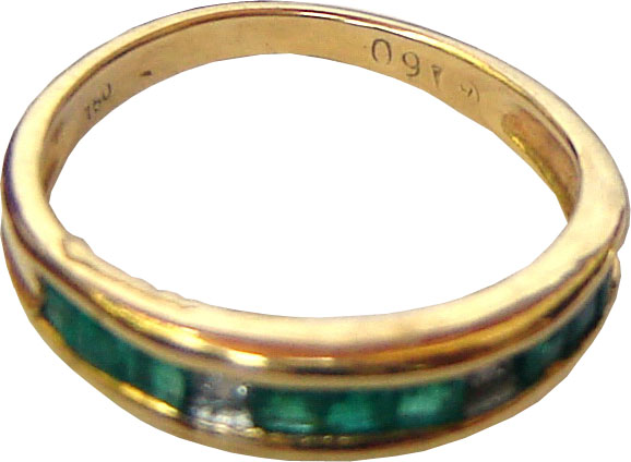 Ring with a nine Brazilian emeralds and two diamonds in a linear row,set in 18ct gold