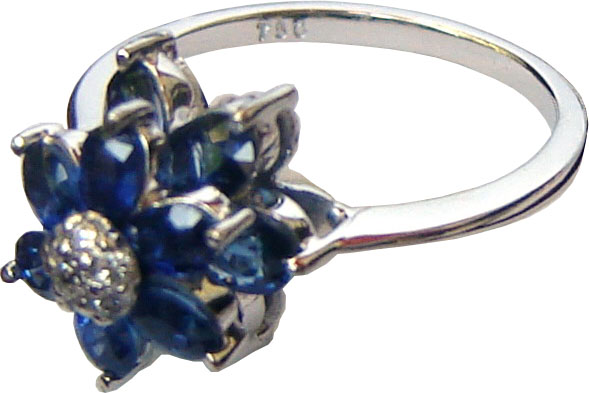An eye-catching beautiful floral design with Ceylon blue sapphires and diamonds set in 18ct white gold.