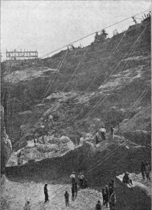 section of interior of kimberley diamond mine in 1874