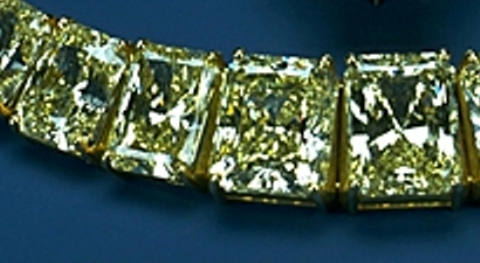 Section of the Hooker Starburst Necklace enlarged to show the rectangular starburst-cut diamonds