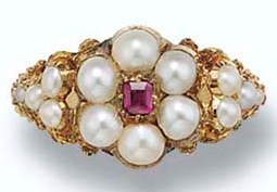 Seed pearl and ruby ring