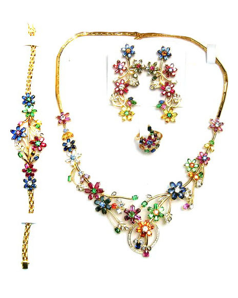 Complete multicolored jewelry set with four items,made up of high quality Ceylon(Sri Lanka) blue sapphires,yellow sapphires,white sapphires,orange sapphires,Ceylon rubies,Brazilian emeralds and diamonds set in 18k gold.