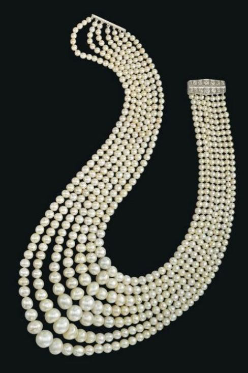 Seven strand natural pearl and diamond festoon necklace seven strand natural pearl and diamond necklace with the clasp open aloadofball Image collections
