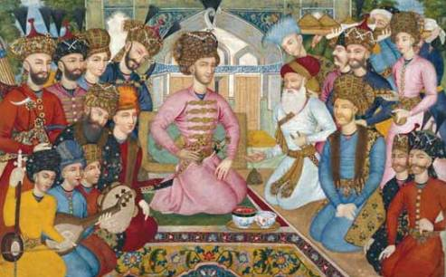 1663 Painting of Shah Abbas II's Court, showing him with the Mughal ambassador.