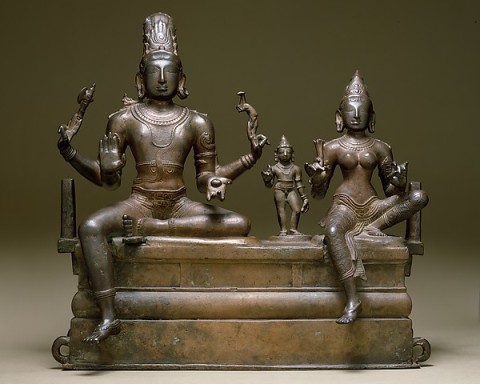 11th-century, South Indian Copper Alloy statutes of Shiva, Parvati and their son Skanda - at the Metropolitan Museum of Art