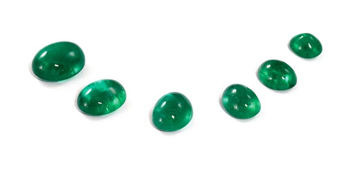 six cabochon cut emeralds in the programa royal collections