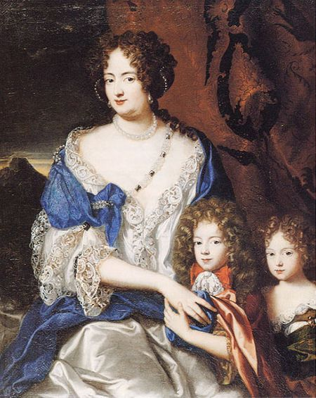 Sophie Dorothea of Celle, wife of King George I, before he ascended the throne in 1714. Her two children George Augustus and Sophia are also with the mother.
