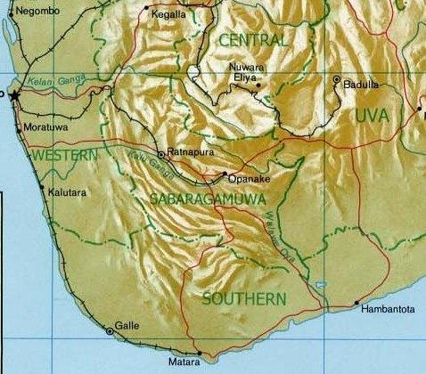 South Central region of Sri Lanka enlarged showing Sabaragamuwa Province, Ratnapura and the Kalu Ganga
