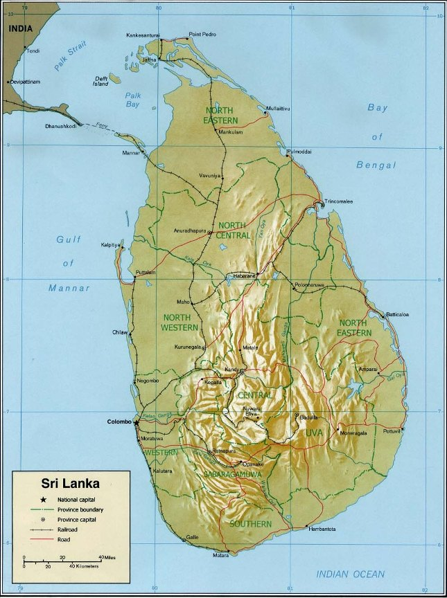 Sri Lanka relief map showing the south central hills