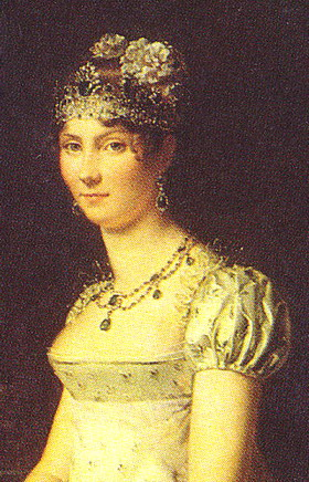 Grand Duchess Stephanie de Beauharnais wearing the emerald necklace and matching pair of emerald earrings