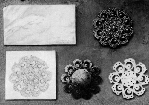 Steps in the production of a seed pearl brooch