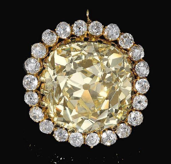 Sultan Ahmed Shah Qajar fancy yellow diamond jewel/brooch