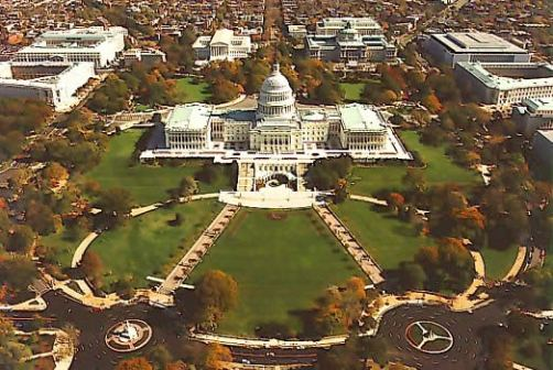 Aerial view of the Capitol Building and surroundings
