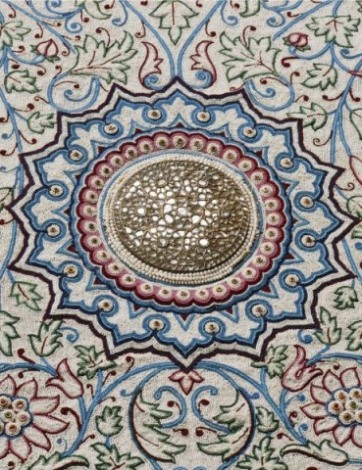 One of the central rosettes of the pearl carpet of Baroda