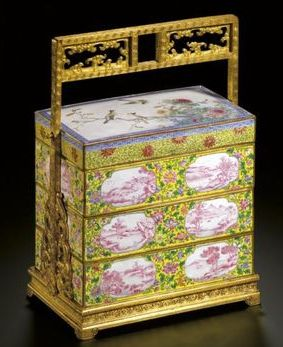 Three-tiered Beijing enameled box from the Qianlong period