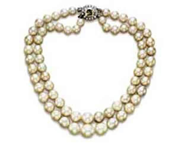 The reconstituted two strand Baroda pearl necklace