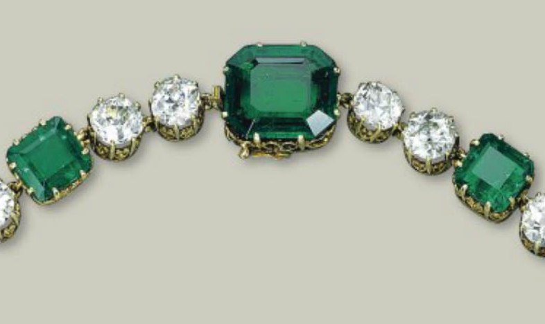 The rear large Octagonal Emerald and clasp
