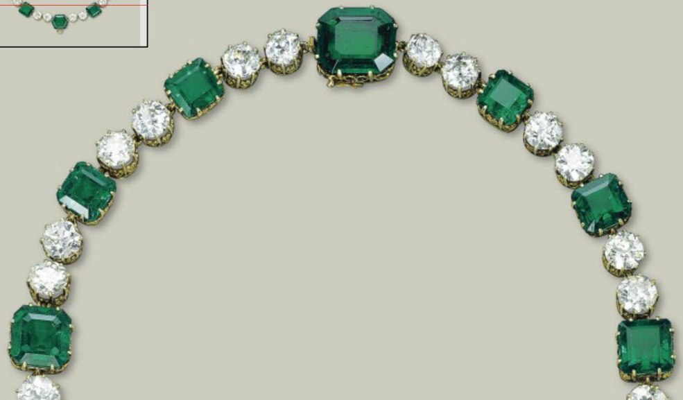 The Upper-half of the Emerald and Diamond Necklace