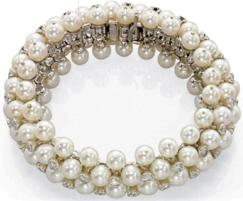 An Attractive Cultured Pearl And Diamond Bracelet By Van Cleef Arpels